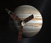 Jupiter Digital Art Posters - Artists Concept Of The Juno Spacecraft Poster by Stocktrek Images