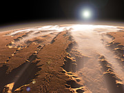 The Sun Rising Prints - Artists Concept Of The Valles Marineris Print by Walter Myers