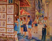 European Cafes Prints - Artists Corner Rue St Jacques Print by Carole Spandau