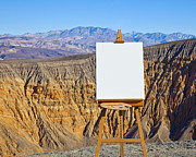 Creativity Desert Framed Prints - Artists Easel and Canvas in Desert Framed Print by David Buffington