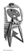 Linocut Art - Artists Easel, Artwork by Bill Sanderson