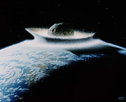 Mass Extinction Posters - Artists Impression Of Asteroid super Impact Poster by Nasa