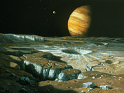 Jupiter Photos - Artists Impression Of Jupiter Over Europa by Ludek Pesek