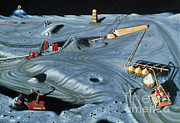 Colonization Prints - Artists Impression Of Lunar Base Print by NASA / Science Source