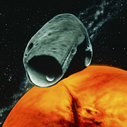 Phobos Prints - Artists Impression Of The Martian Moon Phobos Print by Julian Baum