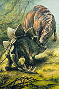 Stegosaurus Prints - Artists Impression Of Tyrannosaurus & Stegosaurus Print by Ludek Pesek