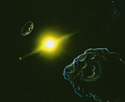 Asteroid Prints - Artists Impression Of View From The Asteroid Belt Print by Julian Baum