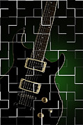 Electric Framed Prints Prints - Artsy Electric Guitar Print by M K  Miller