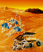 Rover Framed Prints - Artwork Depicting Mfex Rover On Mars Framed Print by Nasa