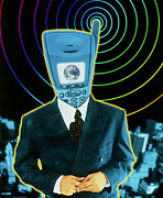 Technological Communication Prints - Artwork Of A Businessman With A Mobile Phone Head Print by Victor Habbick Visions