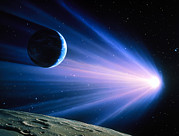 Comet Photos - Artwork Of A Comet Passing Earth by Joe Tucciarone
