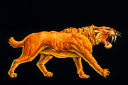 Sabre Prints - Artwork Of A Sabre-toothed Cat (smilodon Sp.) Print by Joe Tucciarone
