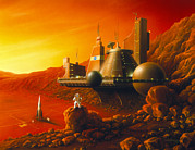 Colonisation Framed Prints - Artwork Of A Space Colony On The Surface Of Mars Framed Print by Detlev Van Ravenswaay