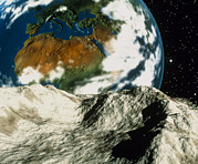 Asteroid Framed Prints - Artwork Of An Asteroid Approaching Earth Framed Print by Roger Harris