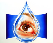 Tear Drop Posters - Artwork Of An Eye With Conjunctivitis In Tear Drop Poster by John Bavosi