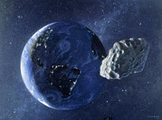 Asteroid Prints - Artwork Of Asteroid Passing Close To Earth Print by Chris Butler