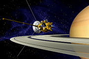 Space Art - Artwork Of Cassini During Soi Maneuver by Nasa