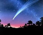 Hale-bopp Comet Framed Prints - Artwork Of Comet Hale-bopp Over A Tree Landscape Framed Print by Chris Butler