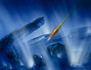 Tempel Prints - Artwork Of Deep Impact Impactor Hitting Comet Print by Detlev Van Ravenswaay
