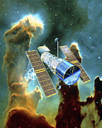 Hubble Telescope Photos - Artwork Of Hubble Space Telescope And Eagle Nebula by David Ducros