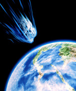 T Travel Prints - Artwork Of K/t Asteroid Approaching Earth Print by Julian Baum