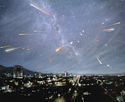Meteor Shower Framed Prints - Artwork Of Meteor Shower Over A City Framed Print by Chris Butler