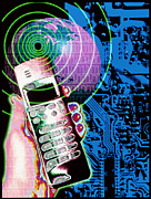 Technological Communication Prints - Artwork Of Mobile Telephone, Globe & Circuit Board Print by Victor Habbick Visions