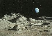 Moon Surface Prints - Artwork Of Moons Surface With Earth In The Sky Print by Ludek Pesek
