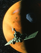 Planets Art - Artwork Of Phobos Spacecraft In Orbit Around Mars by Julian Baum