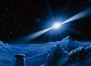 Pulsar Planet Prints - Artwork Of Pulsar Over A Planet Print by Detlev Van Ravenswaay