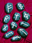 Fortune Telling Posters - Artwork Of Rune Stones Used For Fortune Telling Poster by Victor Habbick Visions