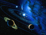 Planets Art - Artwork Of Solar System And Comet by Detlev Van Ravenswaay
