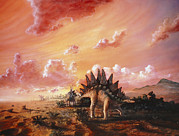 Stegosaurus Prints - Artwork Of Stegosaurus Dinosaurs Print by Chris Butler
