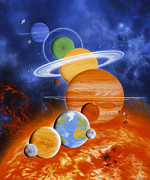 Neptune Prints - Artwork Of Sun And Planets Of Solar System Print by Julian Baum