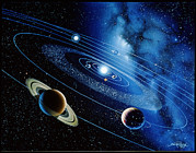 Planets Art - Artwork Of The Solar System With Planetary Orbits by Detlev Van Ravenswaay