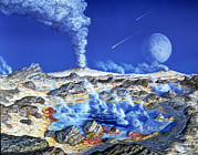 Volcano Prints - Artwork Of The Surface Of A Primeval Earth Print by Chris Butler