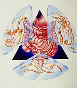 Intestinal Framed Prints - Artwork Of Various Intestinal Parasites And Gut Framed Print by John Bavosi