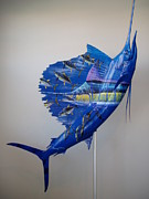 Sharks Paintings - Artwork on sailfish by Carey Chen