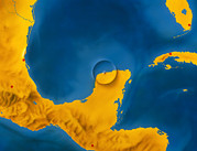 Dinosaur Map Photos - Artwork Showing Chicxulub Impact Crater, Yucatan by D. Van Ravenswaay