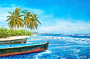 Ink Drawing Pastels Posters - Aruba Poster by David Linton
