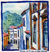 Streetscape Paintings - Arucas Las Palmas de Gran Canaria by Yevgenia Watts