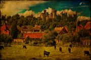 Rooftops Digital Art - Arundel Castle with Cows by Chris Lord