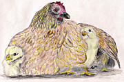 Marqueta Graham Metal Prints - As a Hen Gathereth Her Chickens Under Her Wings Metal Print by Marqueta Graham
