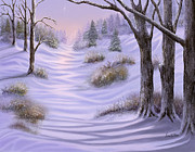 Snow Scenes Digital Art Prints - As Snow Falls Comes Silence Print by Sena Wilson