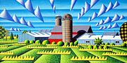 Farm Fields Painting Framed Prints - As The Crow Flies Framed Print by Bruce Bodden
