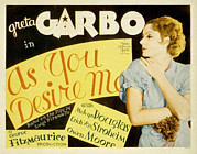 Lobbycard Framed Prints - As You Desire Me, Greta Garbo, 1932 Framed Print by Everett