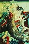Utagawa Kuniyoshi - Asahina Saburo and the crocodile