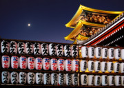 Night Sky Posters - Asakusa Kannon Temple Pagoda and Lanterns at Night Poster by Christine Till
