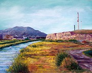 Mountains Pastels Prints - Asarco and the River Print by Candy Mayer