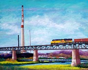 Union Pastels Framed Prints - Asarco and the RR Bridge Framed Print by Candy Mayer